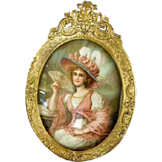 Antique 1900 French Ormolu Oval Picture Frame Abraham & Straus