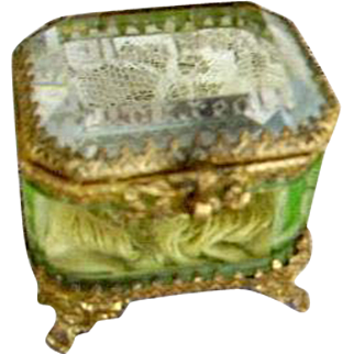 "Antique French Vaseline Glass Casket Ring Box Trinket Box ""Montreal"""