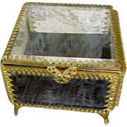 Vintage Beveled Glass Trinket Vanity Box Casket