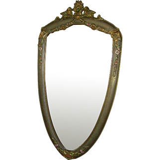 Gorgeous 1920's Barbola Gesso Rose Swags Wall Mirror Shield Shape