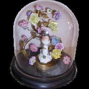 Victorian Glass Dome Display,Ormolu French Porcelain Flowers, Porcelain Bird