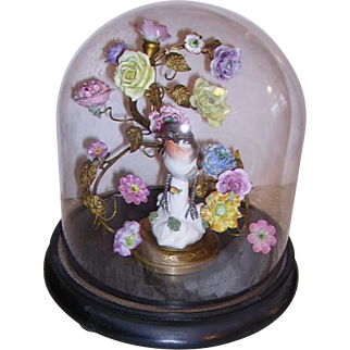 Victorian Glass Dome Display,Ormolu French Porcelain Flowers, Porcelain Bird