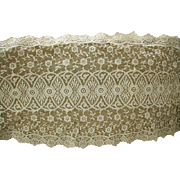 Exquisite 1920s Tambour French Net Lace Embroidered Dresser Runners/Doilies Set