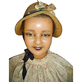1900 Antique French Wax Child Mannequin Head Bust:Porcelain Teeth:Glass Eyes:Human Hair
