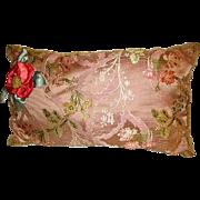 Elegant Vintage 1930's French Silky Brocade Passementerie Boudoir Pillow