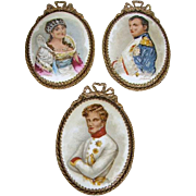 1930s Miniature Porcelain Portrait Plaques,Napoleon, Josephine, Duc de Reichstadt French Ormolu Frames