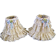 Vintage 1930's French Net Lace Boudoir Lamp Shades Pair Beautiful