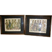Antique 1800's French Victorian Fashion Prints Pair 3-D Embellished/Hand Colored