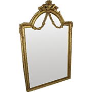 Elegant Vintage 1930's French Gilt Wood and Gesso Barbola Roses Swags Mirror