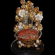 Antique French Ormolu Wedding Cushion Display Globe de Mariee: Wax Tiara