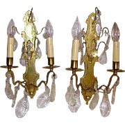 Exquisite Antique French Bronze & Crystal Wall Sconce Lights Pair