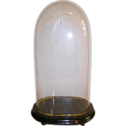 Antique Victorian French Glass Dome/Oval Parlor Glass Dome Display