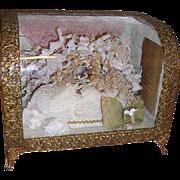 Elegant French Wedding Casket Display Globe de Mairee Casket Wax Bridal Crown