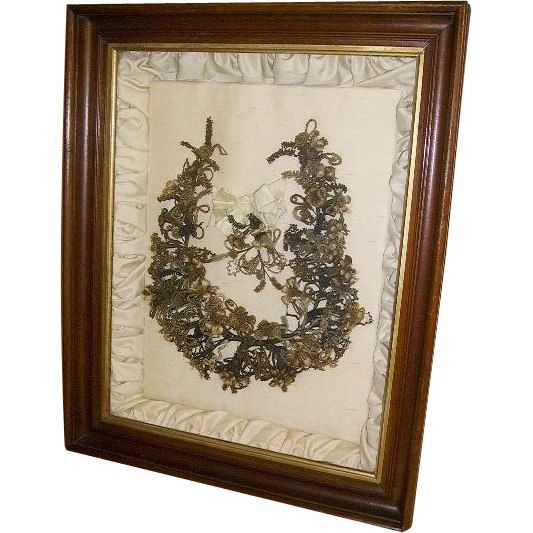 Fabulous Huge Antique Victorian Hair Mourning Wreath