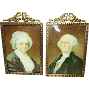 Vintage Pair Ormolu Bow Top Picture Frames Signed Germany/Convex Glass