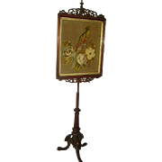 "Superb Antique English 19th c. Beaded Needlepoint Pole Firescreen/Victorian Stumpwork/ 73"" Tall"