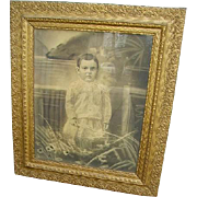 Fabulous Antique Victorian Gesso Large Frame with Victorian Child Portrait
