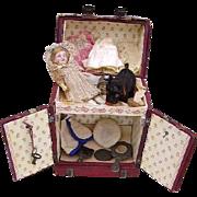 Antique Mignonette Doll in Presentation Dome Trunk/Accessories/19th c.