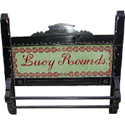 "Antique Victorian Eastlake Towel Rack with Needlepoint Sampler ""Lucy Rounds"""