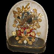 "Antique French Huge Oval Wedding Glass Dome"" Globe de Mairee""/Waxbud Tiara/Victorian Dome"