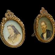 19th Century Pair Miniature French Ormolu Picture Frames/Portrait Pair