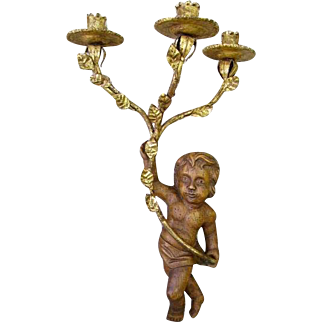 Fabulous Vintage French/Italian Gilt Tole and Cherub Wall Sconce Candelabra Large