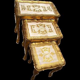 Vintage Italian Florentine Wood Nesting Tables(3)