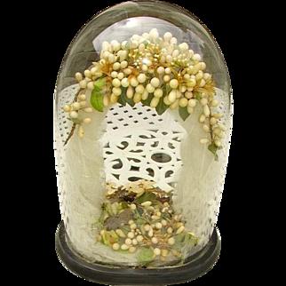 "Antique French Wedding Victorian Glass Dome"" Globe de Mairee""/Waxblossom Tiara/Wedding Veil"