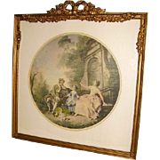 Fabulous Vintage French Gesso Barbola Rose Swags Bow Top Large Picture Frame