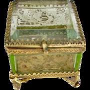 Antique French Vaseline Glass Casket Ring Box Trinket Box Ormolu Casket