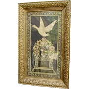 Antique Victorian c.1879 Mourning Litho in Gorgeous Gesso Wood Frame/Weaver Children