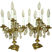 Vintage Spanish Brass Prisms Candelabra Lamps/Table Chandeliers