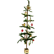 "Early German Feather Goosefeather Tree 48"" with Ornaments Estate Collection"
