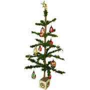 "Early German Feather Goosefeather Tree 30"" with Ornaments Estate Collection"
