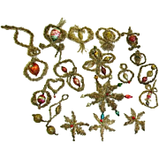 Antique Victorian Tinsel and Blown Glass Ornaments(20) /Victorian Christmas Ornaments