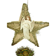 Victorian (4) Die Cut Angels/Scrap/Crepe/ Tinsel Christmas Ornaments  1800's