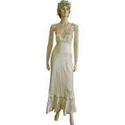 Exquisite True Vintage 1930's Liquid Satin/Net Lace Nightgown/Old Hollywood Glam