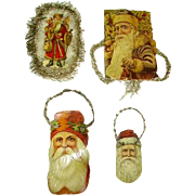 Victorian (4) Die Cut/Scrap Santa Santas Tinsel Christmas Ornaments  1800's