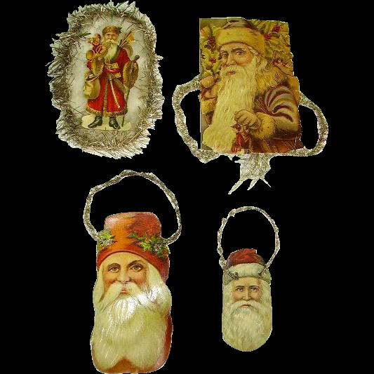 Victorian Christmas Decorations Shop Collectibles Online Daily: Victorian (4) Die Cut/Scrap Santa Santas Tinsel Christmas