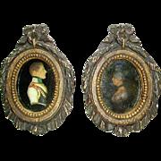 Rare Pair Antique Wax Portraits Napoleon and Josephine in Original Frames