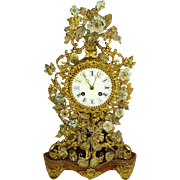 French 19th century Ormolu/Dore Bronze Clock:French Porcelain Flowers - Red Tag Sale Item