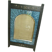 Antique Victorian Eastlake Ebony Picture Frame: Pleated Silk Matting: Easel Stand