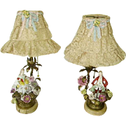 Early Exquisite Pair French Porcelain Flowers Ormolu Bronze Boudoir Lamps/French Net Lace Shades