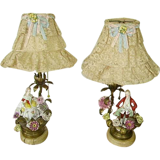 Early Vintage Pair French Porcelain Flowers Ormolu Bronze Boudoir Lamps/French Net Lace Shades