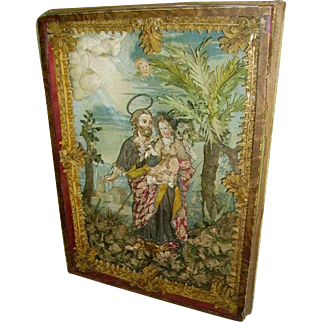 Antique 19th c. Paperolle Monastery Work Reliquary Diorama/St.Joseph and Child/Embellished Clothing
