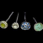 Vintage 1930's Hat Pins (4) Paste Stones, Jeweled