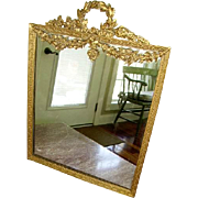 Exquisite Antique French Bronze Barbola Swag Roses Large Table Mirror/Picture Frame