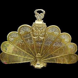 Vintage Brass Peacock Folding Fan Fireplace Screen