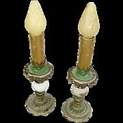 Vintage Art Nouveau Boudoir Lamps/Candlestick Lamps Pair