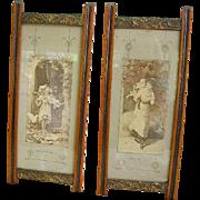Antique Victorian Eastlake Picture Frames Pair/Antique Children's Prints